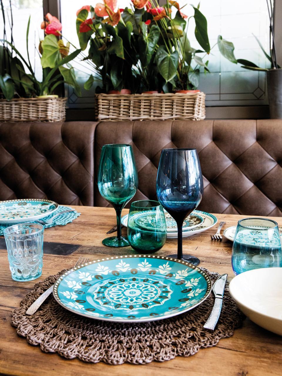 Wassergläser Nobilis in Bunt mit dekorativem Reliefmuster, 6er-Set, Glas, Mehrfarbig, Ø 8 x H 10 cm