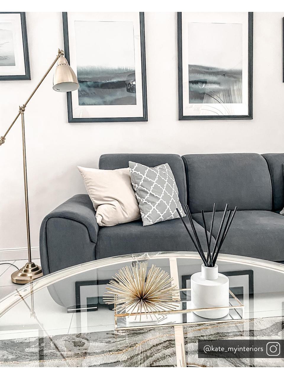 Kissenhülle Lana in Grau mit grafischem Muster, 100% Baumwolle, Grau, Weiß, 45 x 45 cm