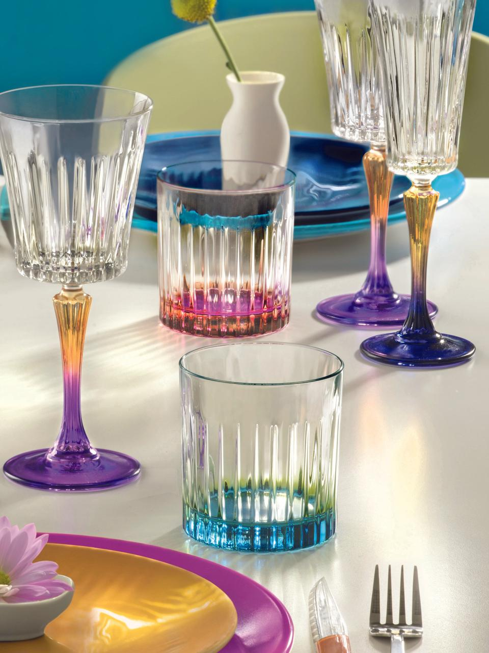 Kryształowa szklanka Gipsy, 6 szt., Szkło kryształowe Luxion, Transparentny, odcienie miedzi, różowy, Ø 8 x W 9 cm