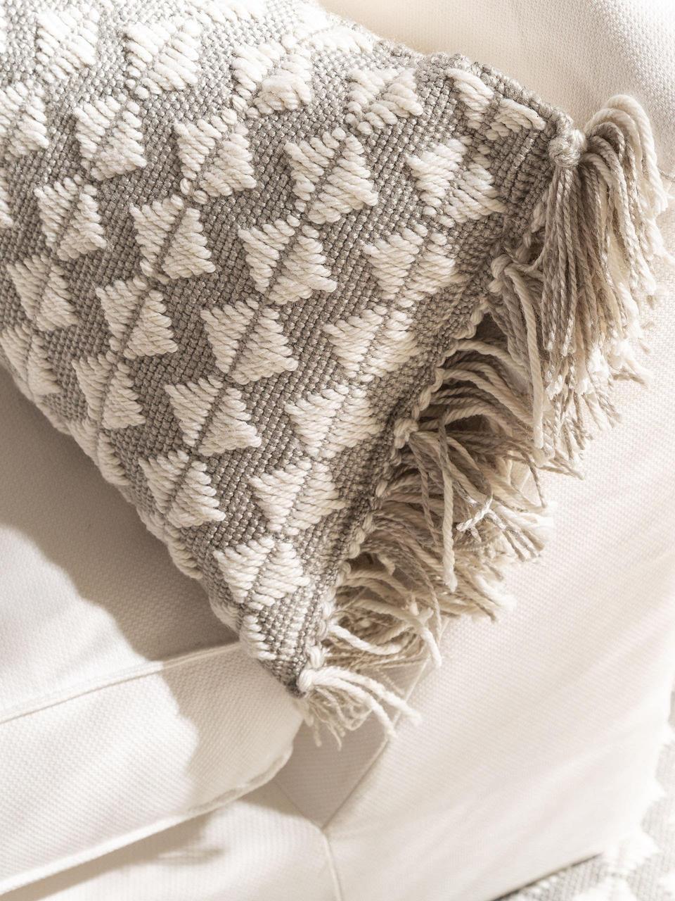 In- & outdoor kussen Morty met ethnopatroon en franjes, met vulling, 100% polyester (gerecycled PET), Grijs, gebroken wit, 30 x 50 cm