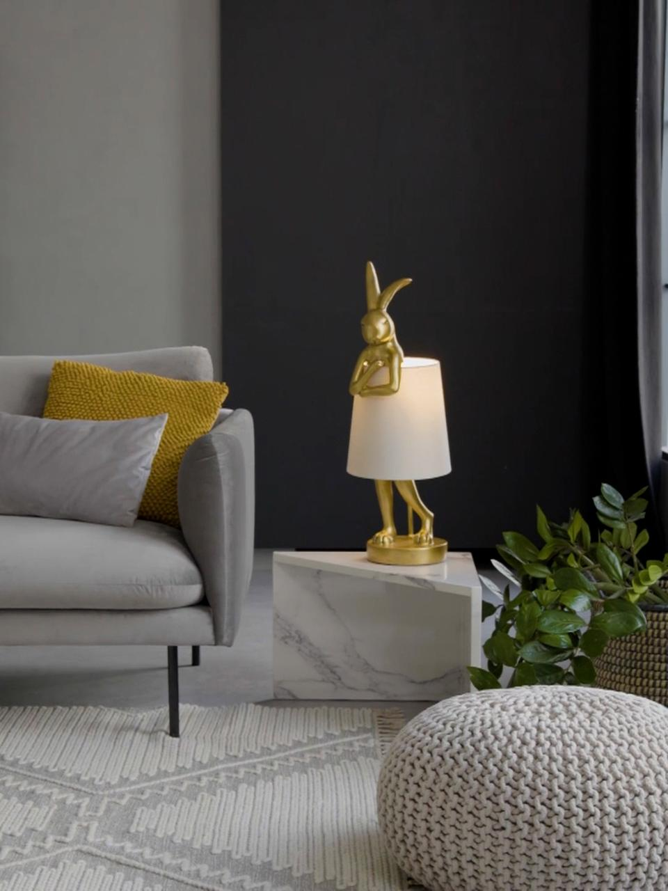 Duża lampa stołowa Rabbit, Biały, odcienie złotego, Ø 23 x W 68 cm