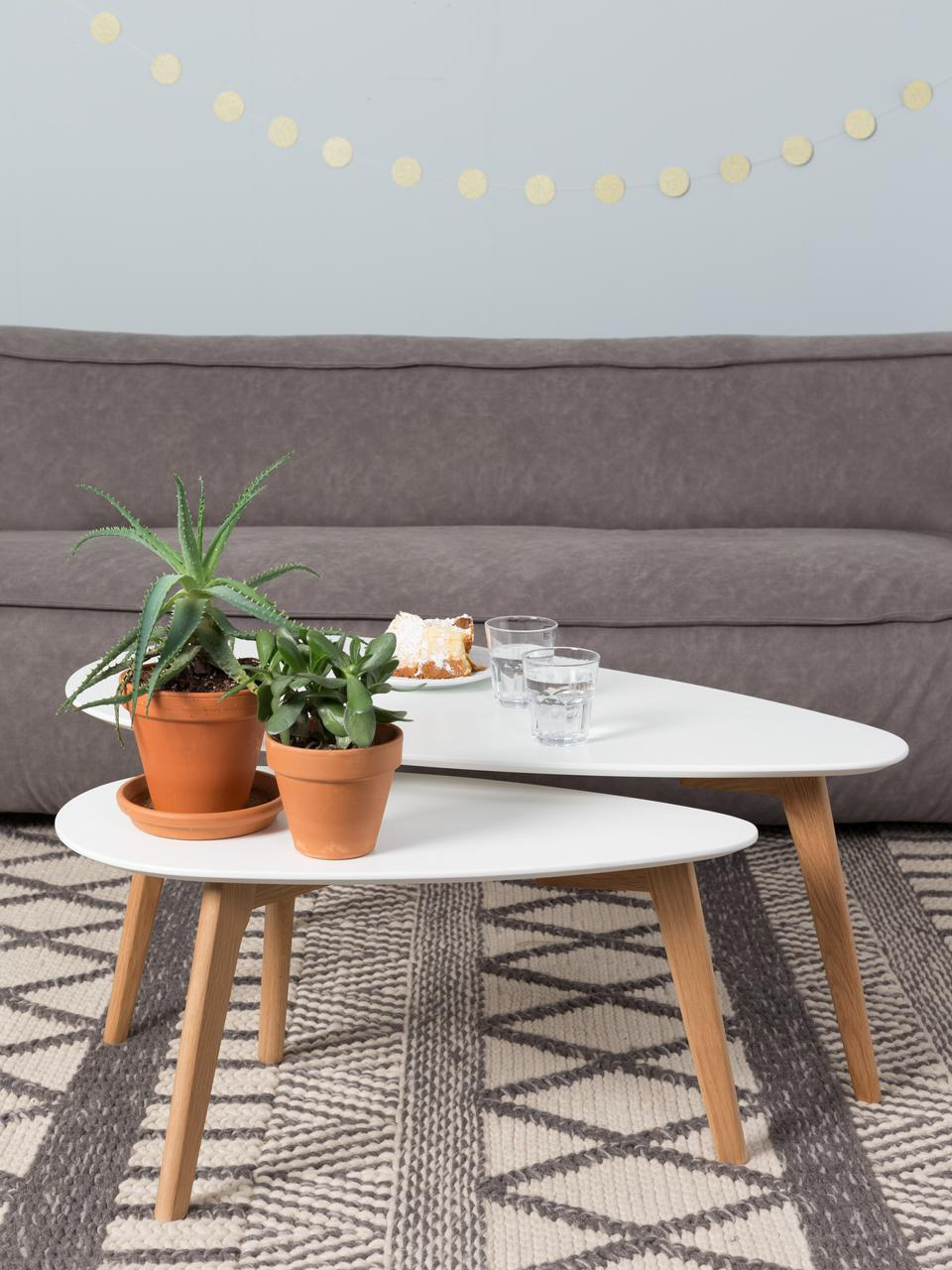 Couchtisch 2er-Set Nordic im Skandi Design, Beine: Massives Eichenholz, Tischplatten: Weiß<br>Beine: Eiche, Sondergrößen