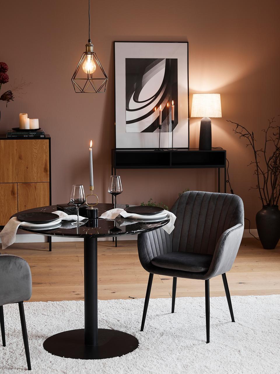 Suspension industrielle Agnes, Structure: noir, couleur laiton Abat-jour: noir