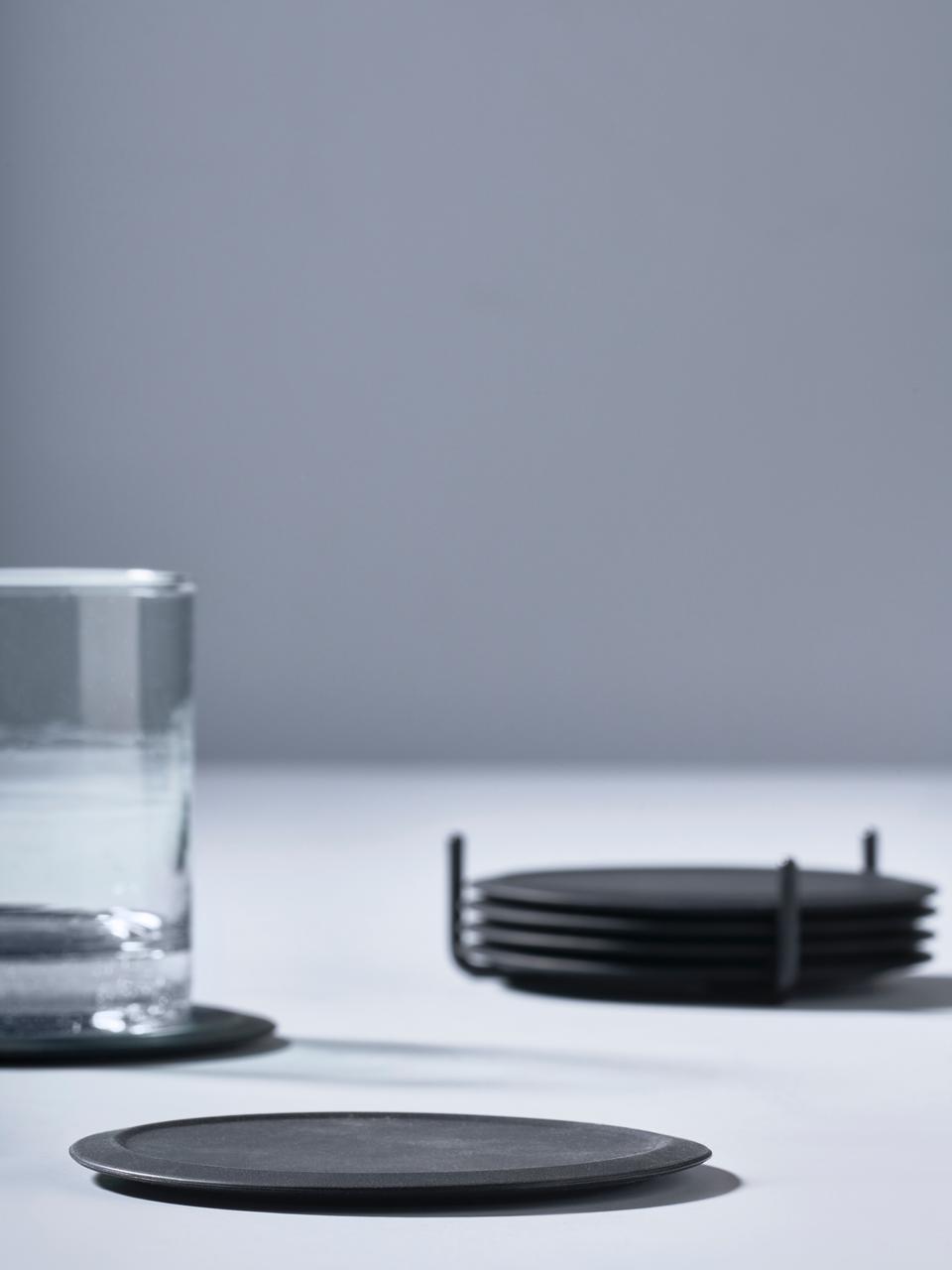 Ensemble de sous-verres en silicone Plain, 7élém., Noir