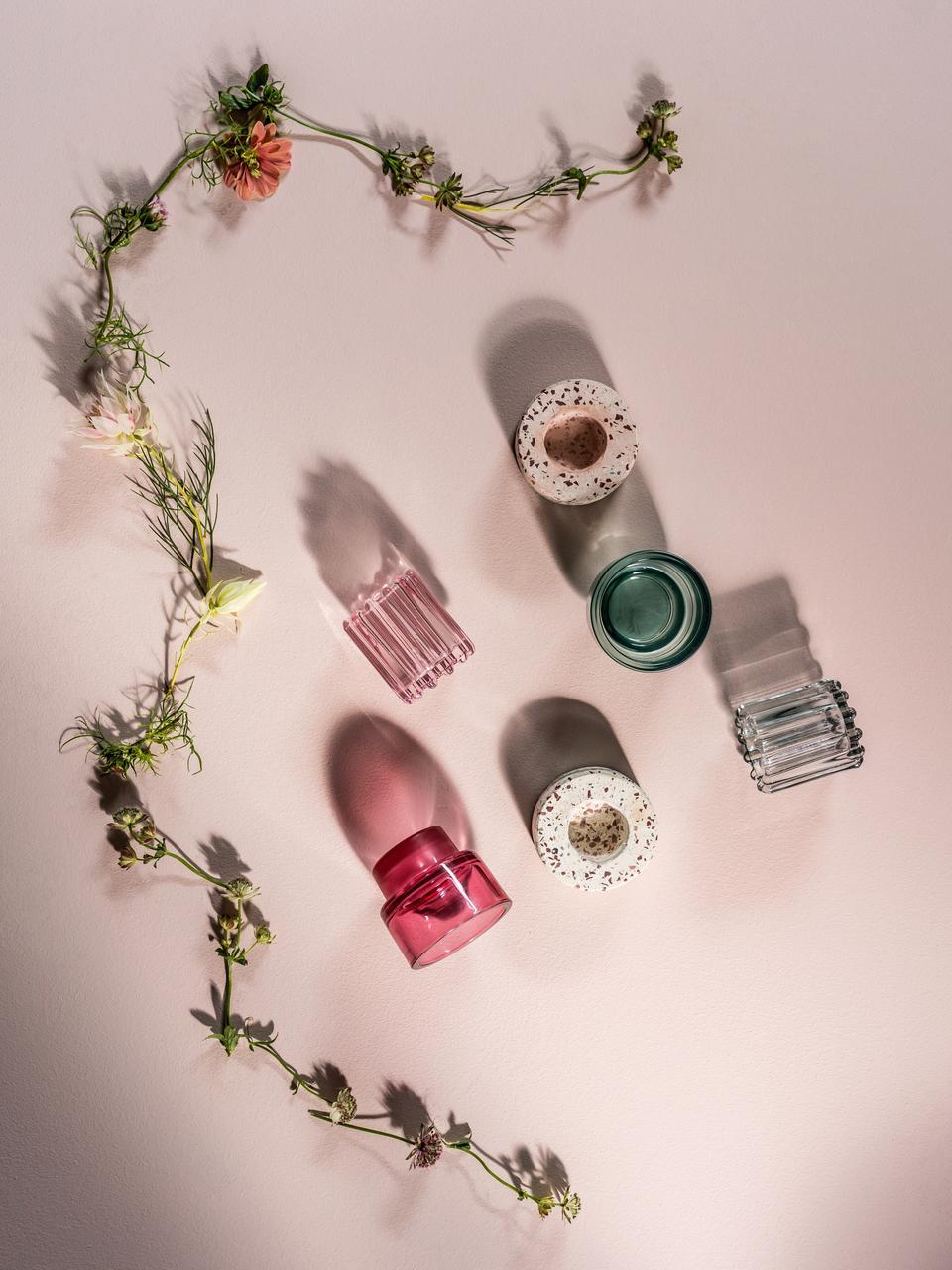 Handgefertigter Teelichthalter Tessina, Stein, Rosa, Mehrfarbig, Ø 9 x H 4 cm