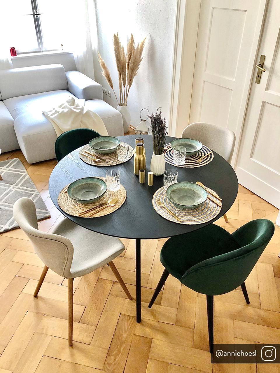 Chaise rembourrée style scandinave Batilda, 2pièces, Tissu couleur sable