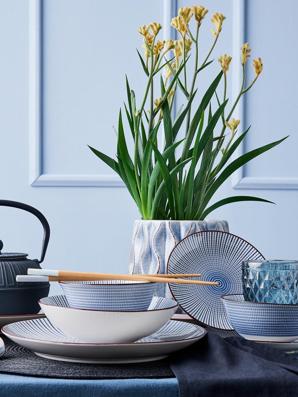 Komplet naczyń DIm Sum, 12 elem., Ceramika, Niebieski, biały, brązowy, Komplet z różnymi rozmiarami