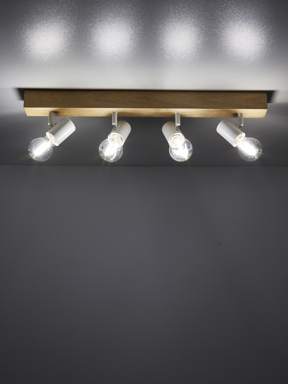 Deckenstrahler Townshend aus Holz, Baldachin: Holz, Weiß, Holz, 63 x 13 cm