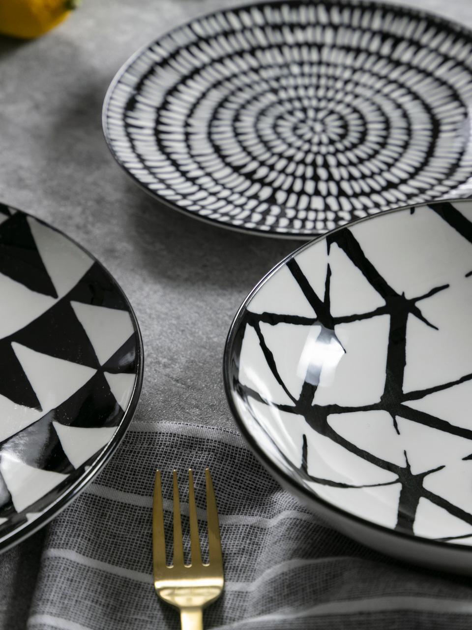 Gemustertes Geschirr-Set Mokala in Schwarz/Weiß, 6 Personen (18-tlg.), Porzellan, Schwarz, Weiß, Sondergrößen