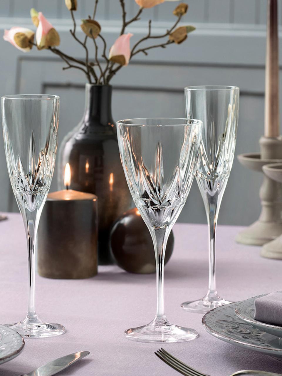 Kristall-Rotweingläser Chic mit Relief, 6er-Set, Kristallglas, Transparent, Ø 9 x H 22 cm