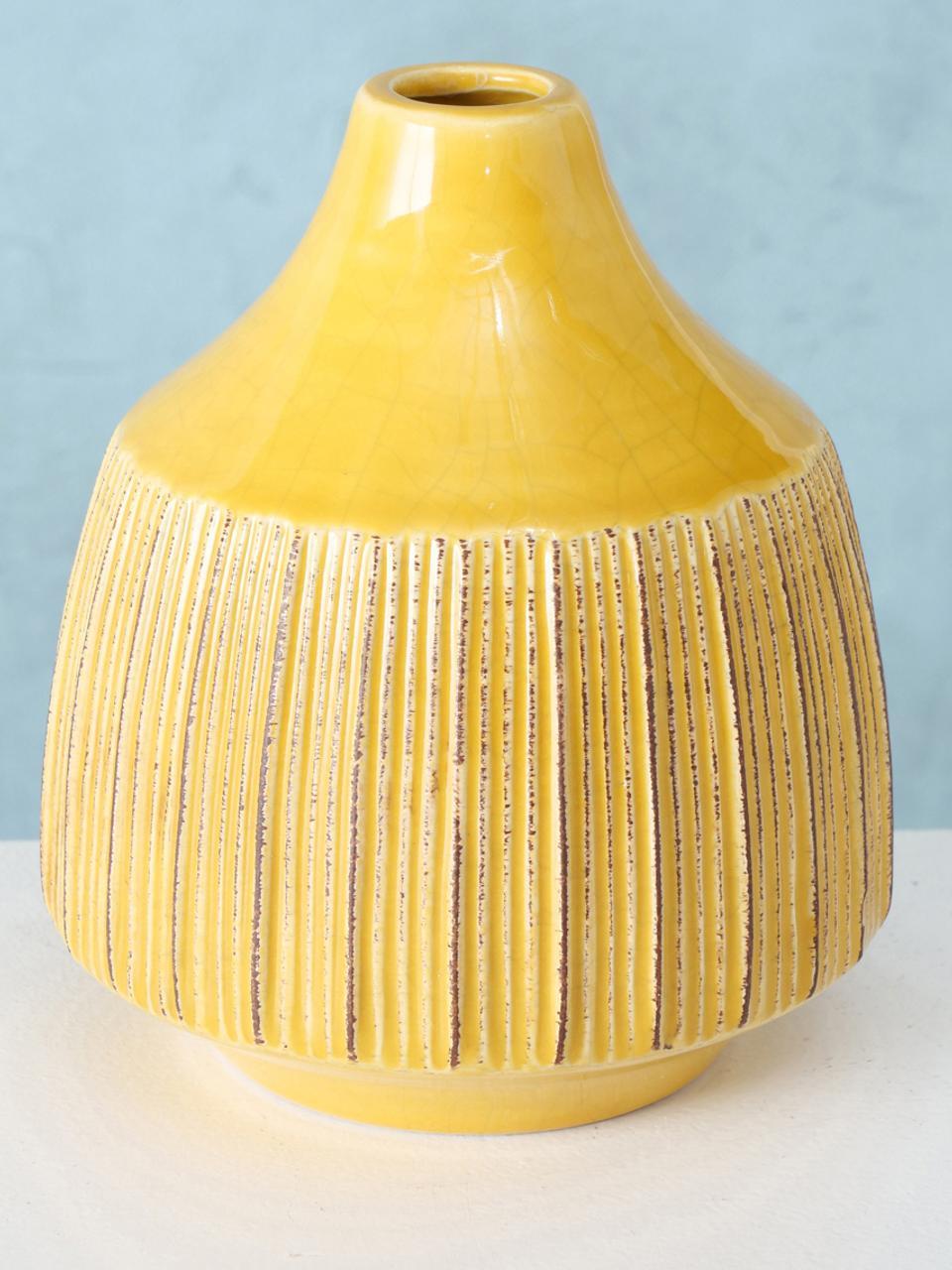 Kleine Vase Menos aus Steingut, Steingut, Gelb, Ø 12 x H 14 cm