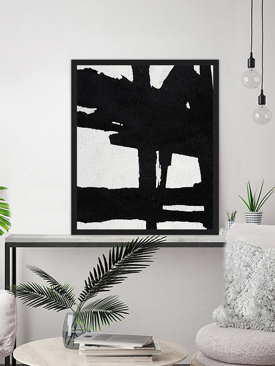 Ingelijste digitale print Abstract zwart, Afbeelding: digitale print op papier,, Lijst: gelakt hout, Zwart, wit, 53 x 63 cm