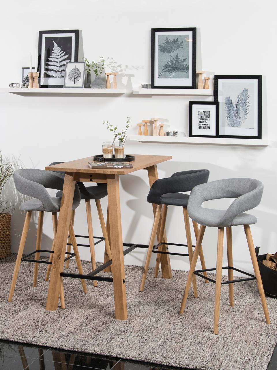 Chaises de comptoir Grace, 2pièces, Revêtement: gris foncé Pieds: chêne Repose-pieds: noir