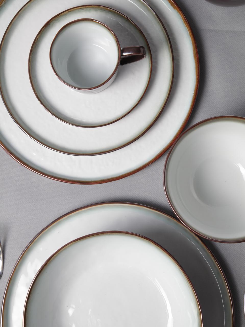 Assiettes plates Plato, 4pièces, Brun, blanc