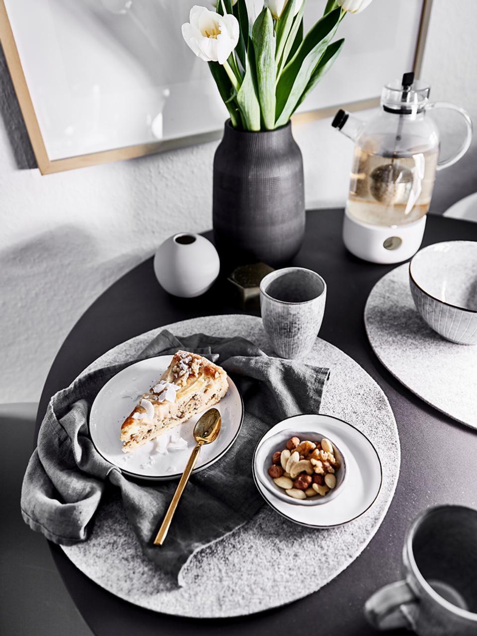 Handgefertigte Kugel-Vase Ball, Keramik, Grau, Ø 10 x H 10 cm