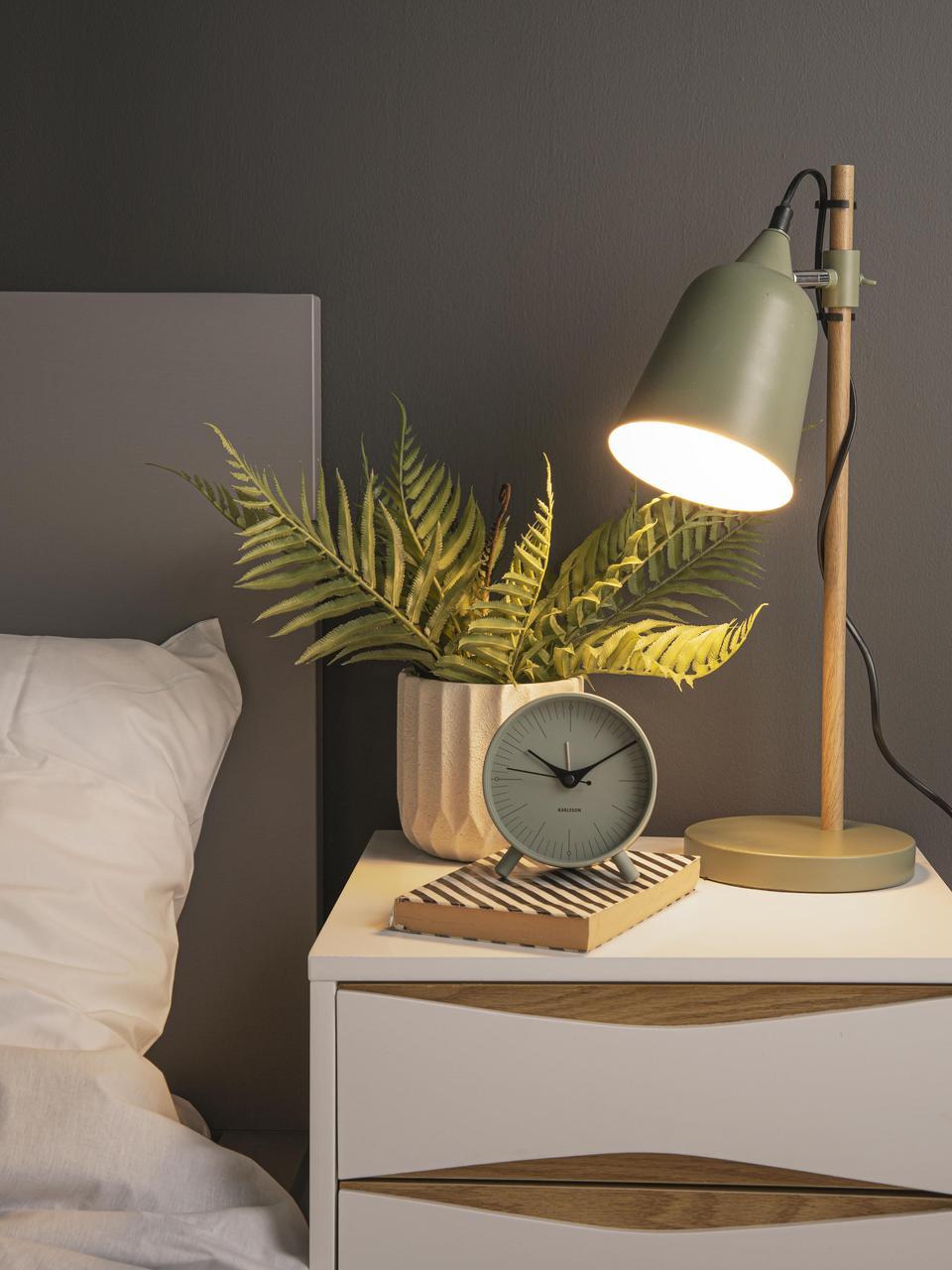 Despertador Index, Metal recubierto, Negro, verde, Ø 11 cm