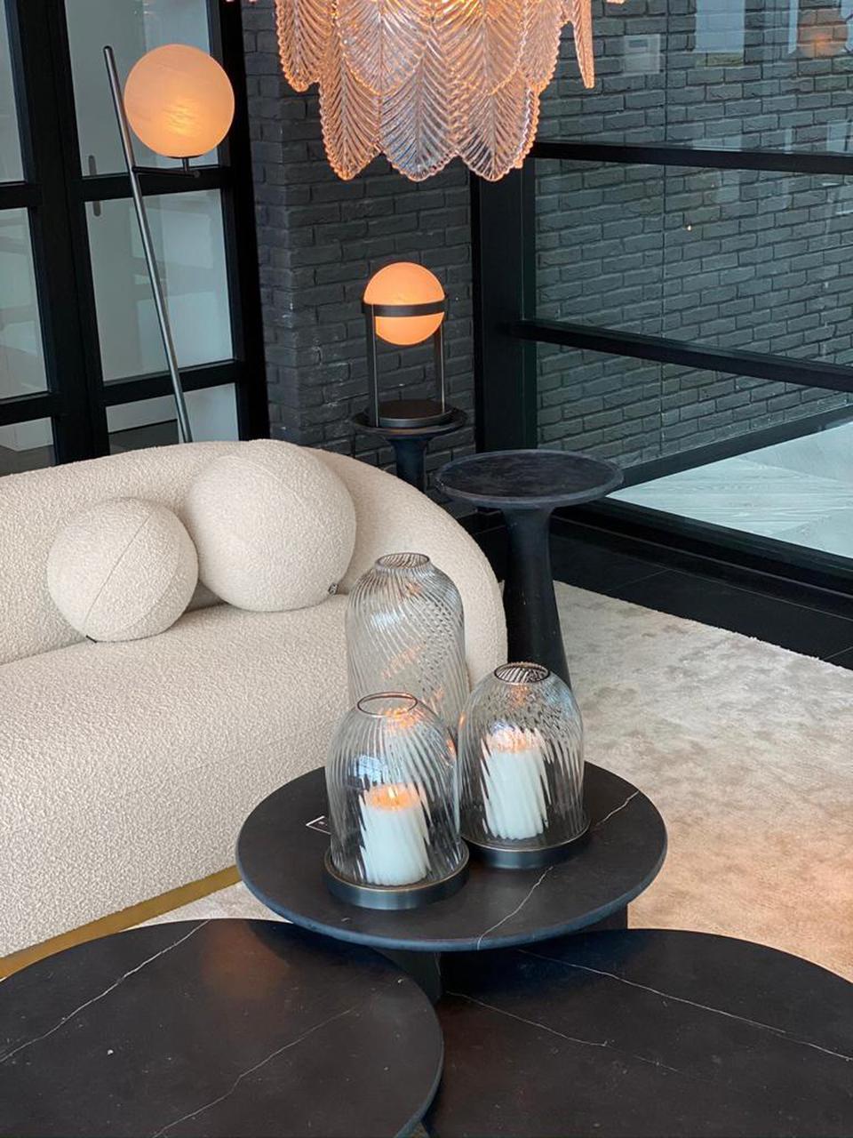 Cuscino a forma di palla con imbottitura Palla, Rivestimento: 100% poliestere, trama bo, Color crema, Ø 30 cm
