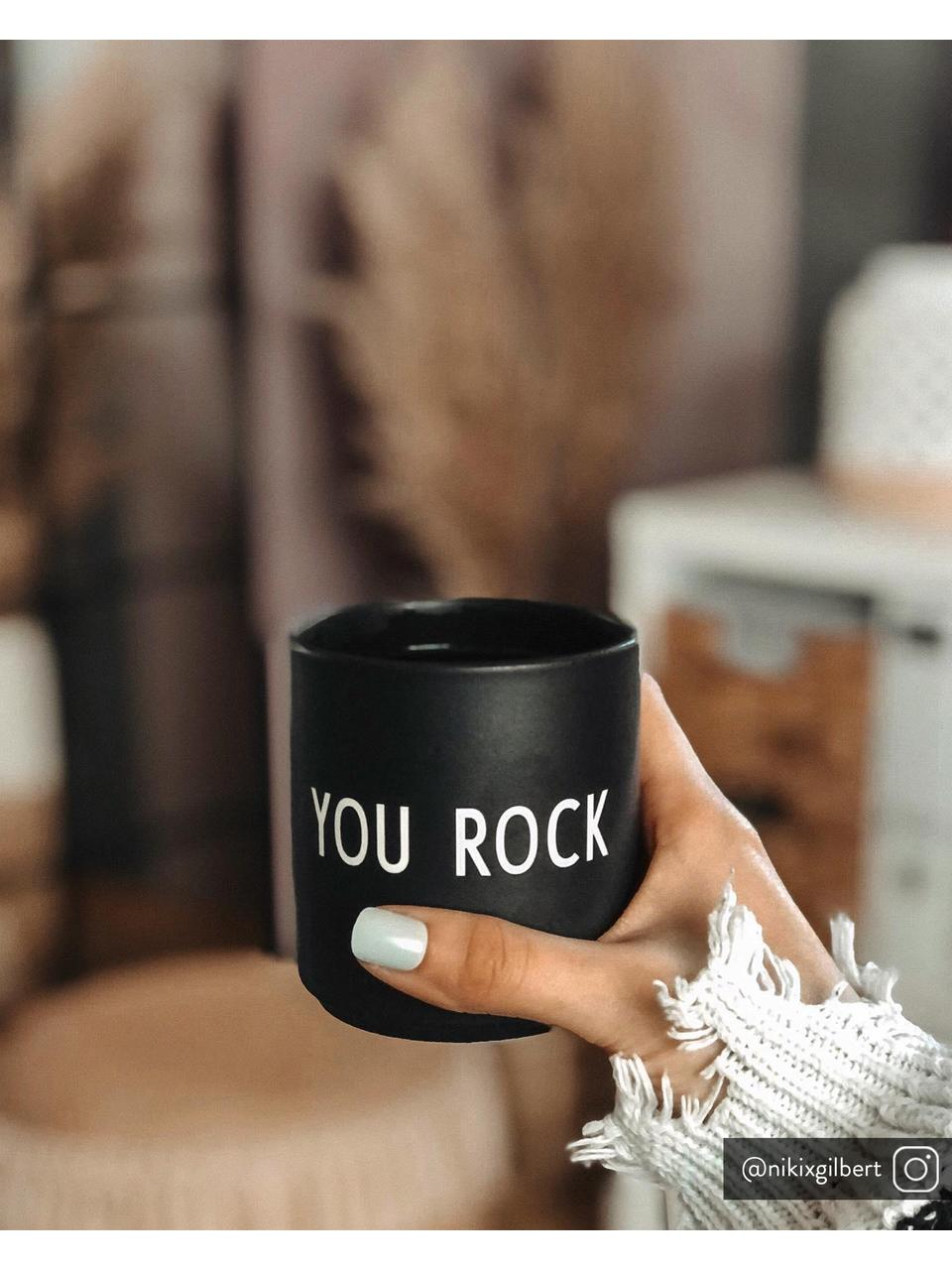 Mug en porcelaine Favourite, Noir, blanc