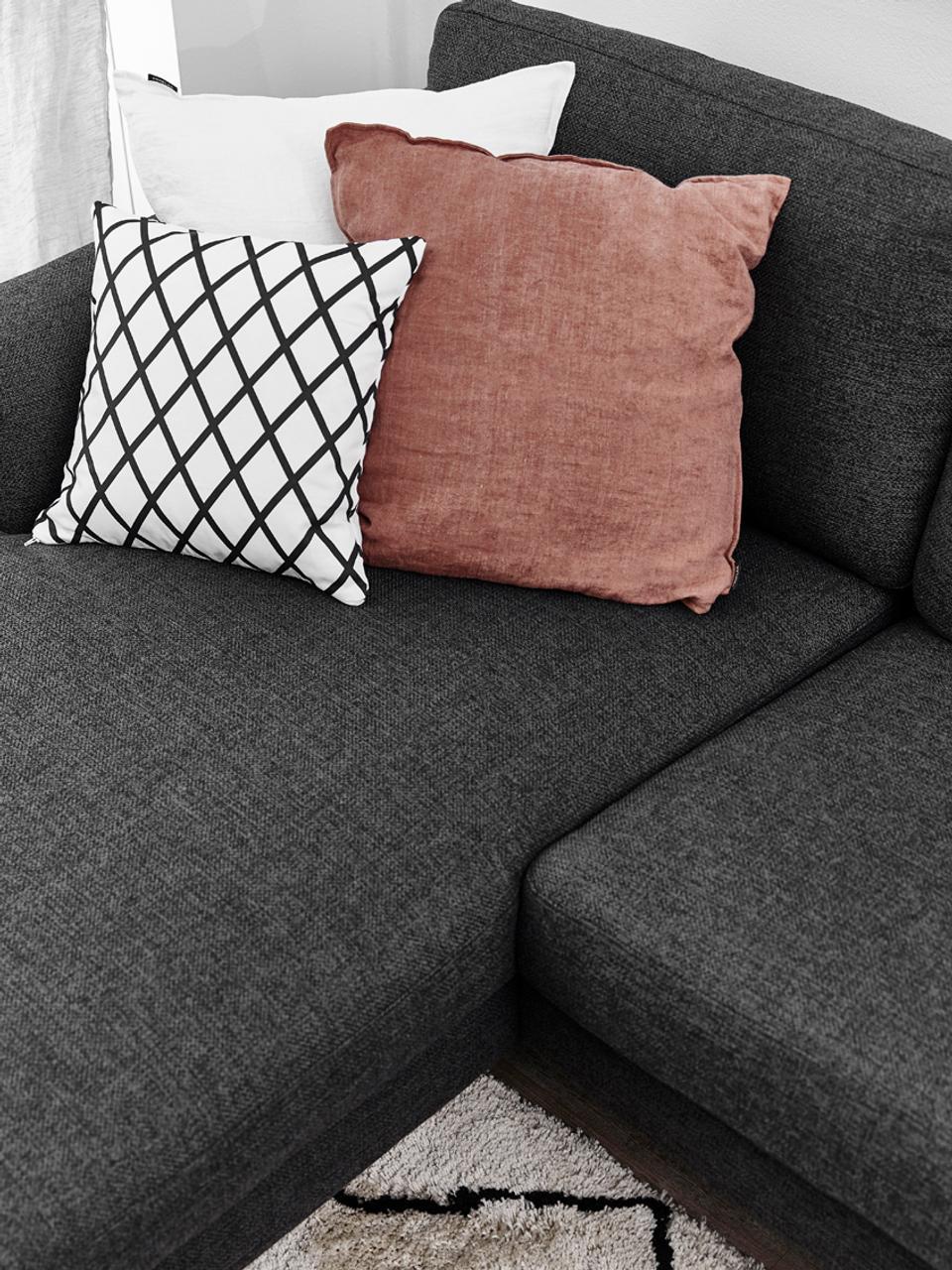 Kissenhülle Romy mit Rautenmuster in Schwarz/Weiß, 100% Baumwolle, Panamabindung, Schwarz, Creme, 40 x 40 cm
