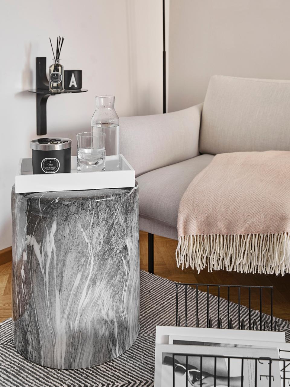Wolldecke Aubrey mit feinem Zickzack-Muster, 80% Merinowolle, 20% Nylon, Rosa, Gebrochenes Weiß, 140 x 200 cm