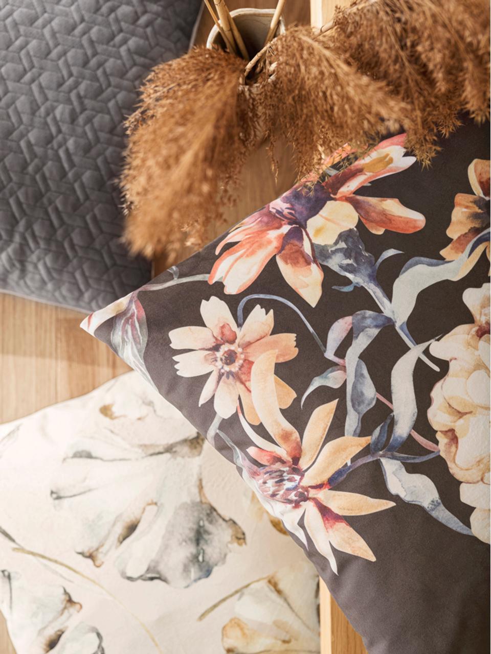 Housse de coussin 50x50 velours réversible Flores, Beige, multicolore