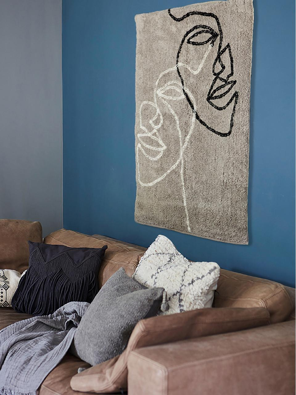 Dywan z bawełny Visage, Bawełna organiczna, Szary, czarny, biały, S 90 x D 120 cm (Rozmiar XS)