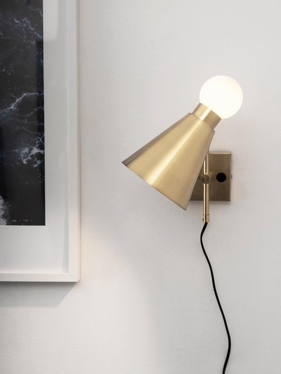 Applique Ludo, Metallo, vetro, Ottonato spazzolato, bianco, Larg. 15 x Alt. 31 cm