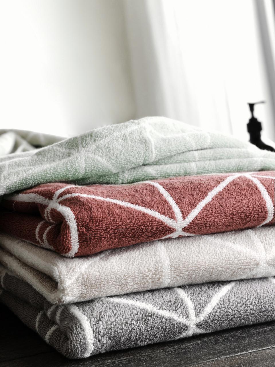 Asciugamano reversibile con motivo grafico Elina, 100% cotone, qualità media 550g/m², Verde menta, bianco crema, Asciugamano per ospiti