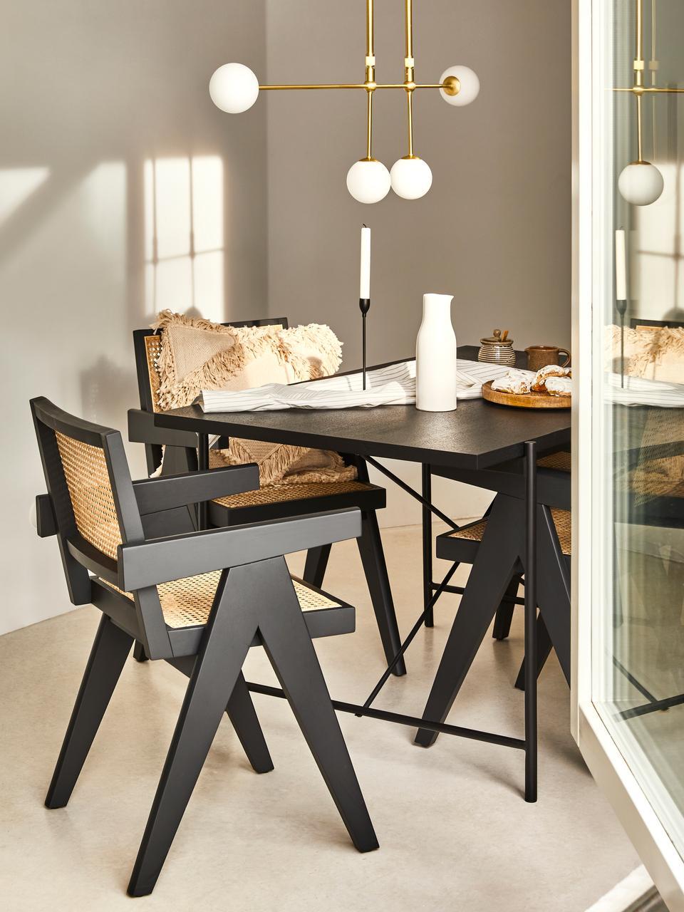 Table avec plateau en bois noir Mica, Plateau: placage en bois de chêne, laqué noir Pieds: noir, mat
