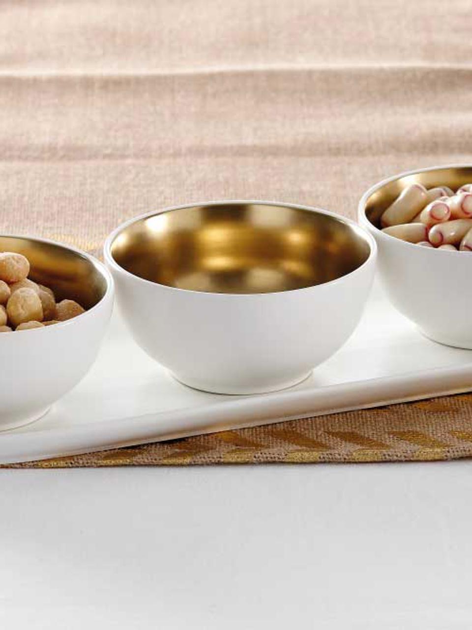 Set ciotole per aperitivo in gres Glitz 4 pz, Terracotta, Bianco, dorato, Ø 11 x Alt. 6 cm