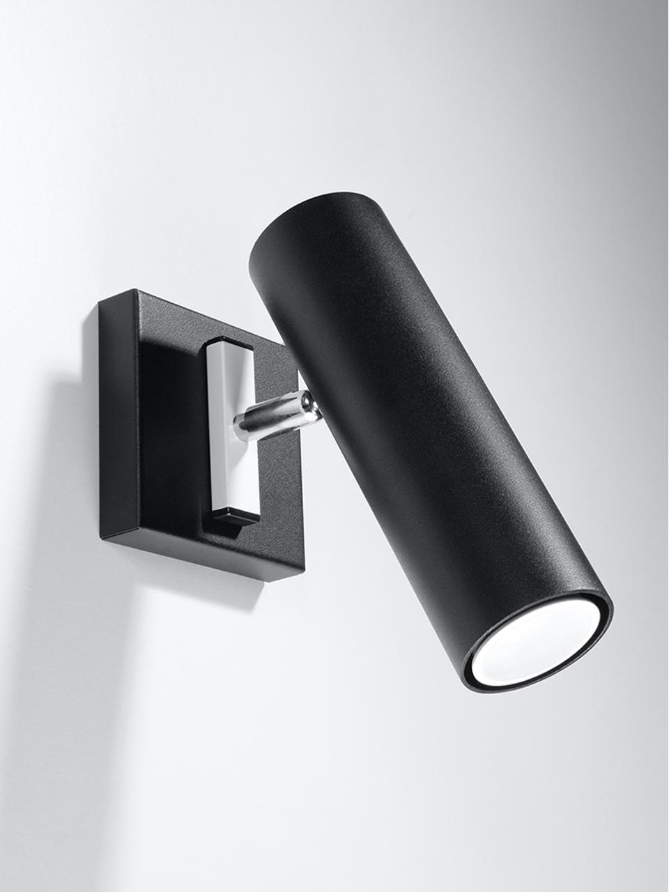 Applique Mira, Paralume: acciaio, Giunto: acciaio, Nero, Larg. 18 x Alt. 18 cm