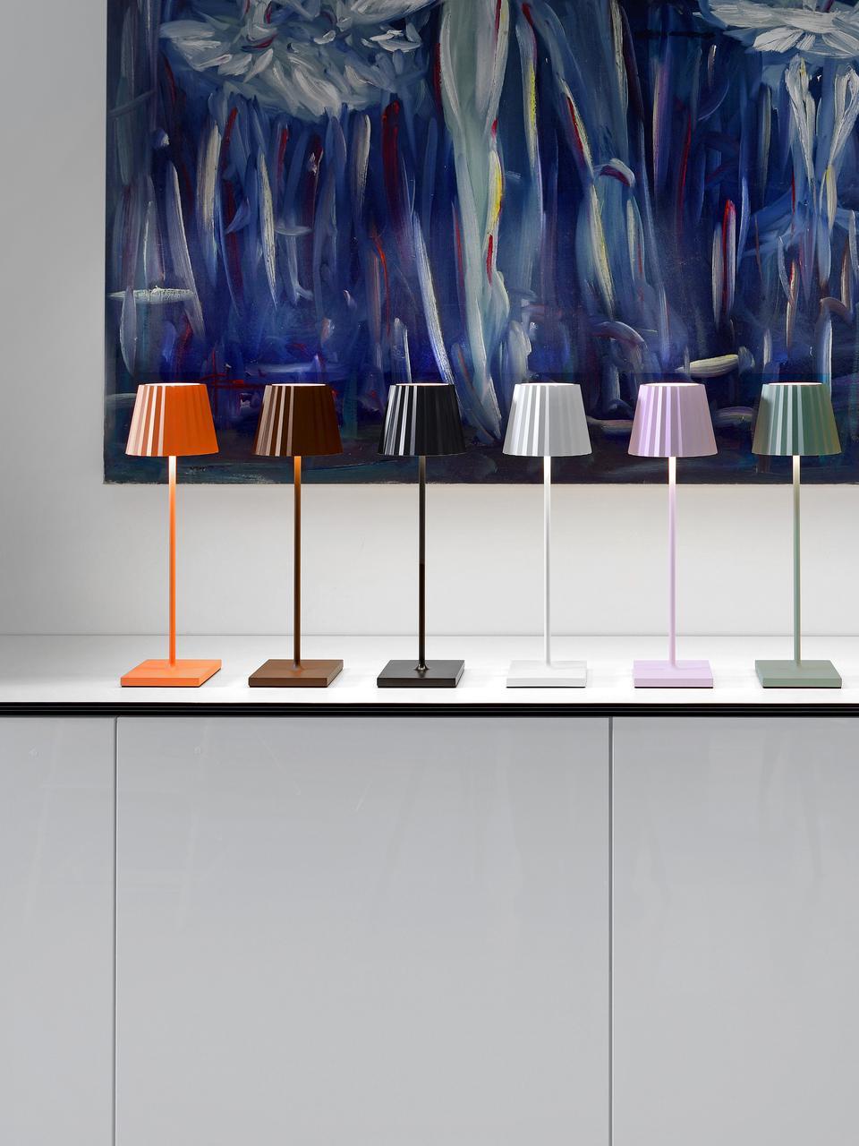 Mobile LED-Außentischleuchte Trellia, Aluminium, lackiert, Schwarz, Ø 15 x H 38 cm
