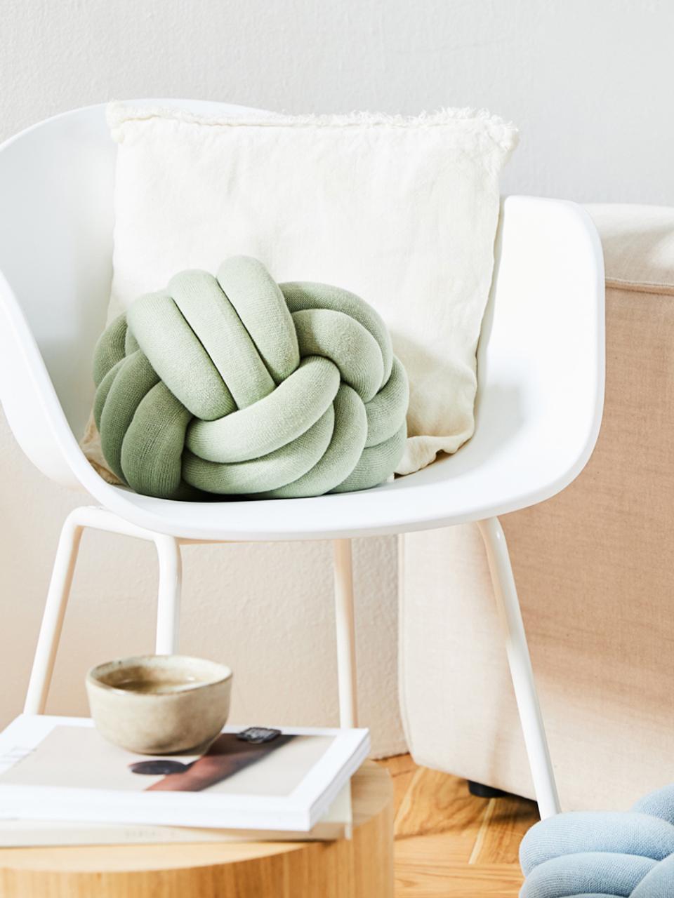 Cuscino verde menta Twist, Verde menta, Ø 30 cm
