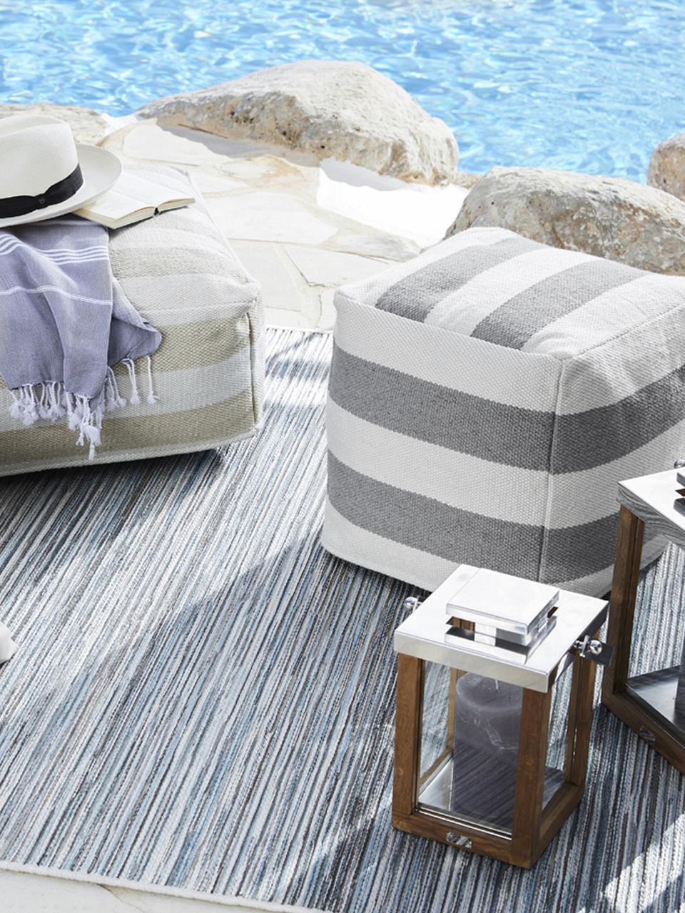In- und Outdoor-Pouf Lani, Bezug: 100% recyceltes Polyester, Grau, Ecru, 40 x 40 cm