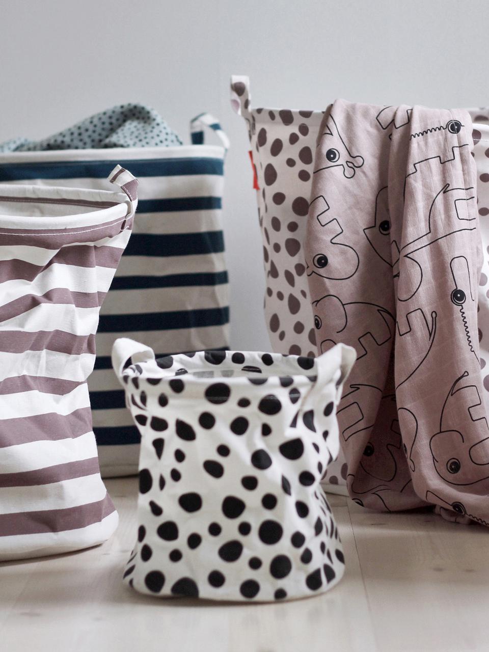 Aufbewahrungkörbe-Set Soft, 2-tlg., 65% Baumwolle, 35% Polyester, PU-beschichtet, Schwarz, Weiß, Set mit verschiedenen Größen