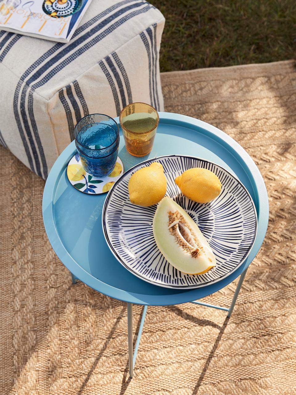 Tablett-Tisch Sangro aus Metall, Metall, pulverbeschichtet, Blau, Ø 46 x H 52 cm