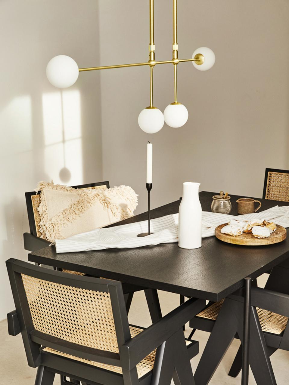 Große Design Pendelleuchte Moon, Baldachin und Fassung: Messing, gebürstetLampenschirme: WeißKabel: Schwarz, B 112 x H 90 cm