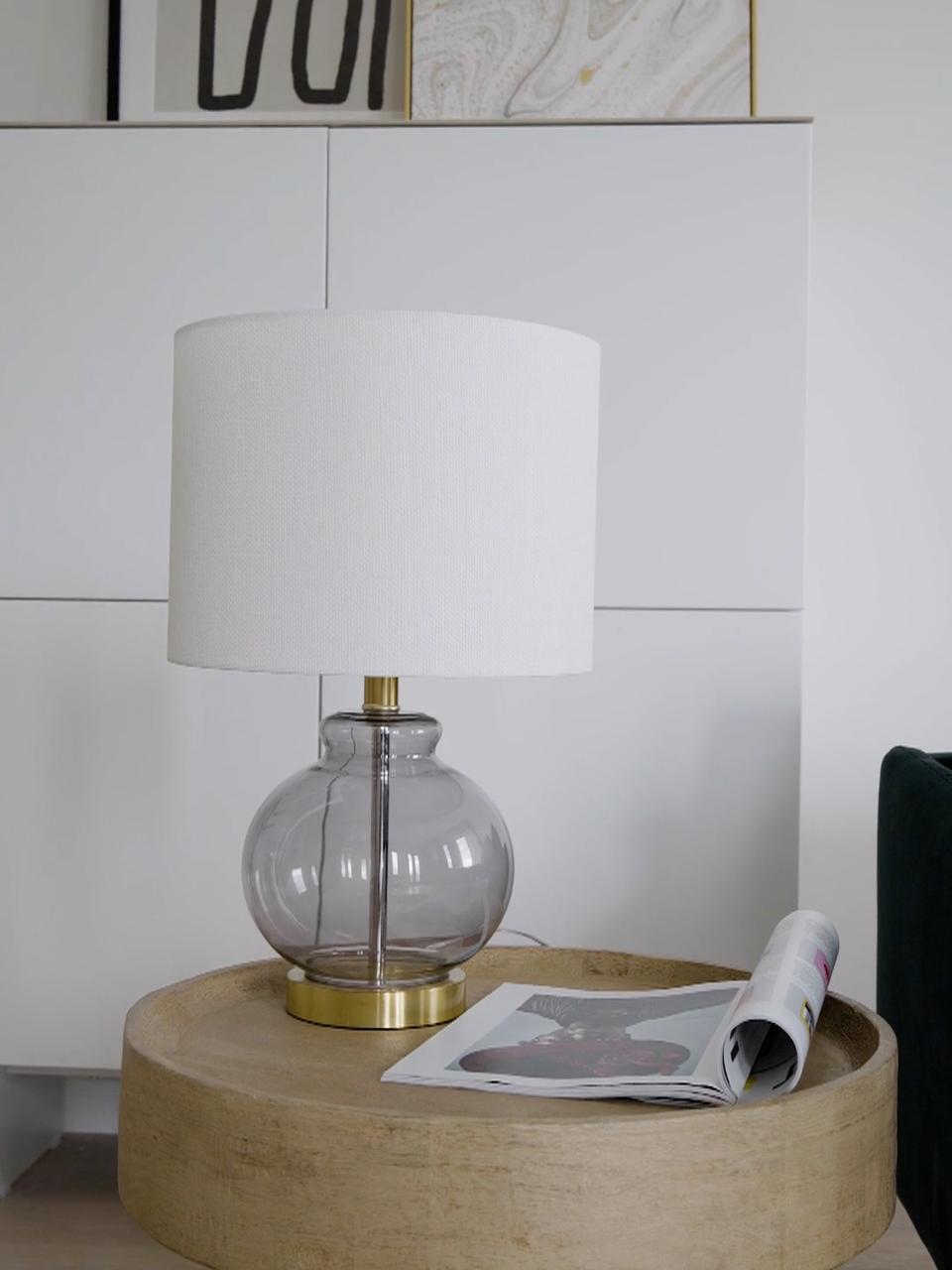 Lampe à poser avec pied en verre Natty, Blanc, bleu-gris, transparent