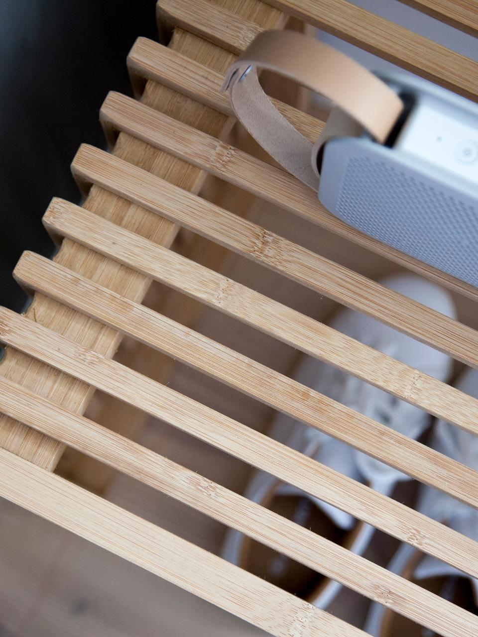 Stołek z drewna bambusowego Rib, Drewno bambusowe, piaskowane i olejowane, Brązowy, S 45 x W 43 cm