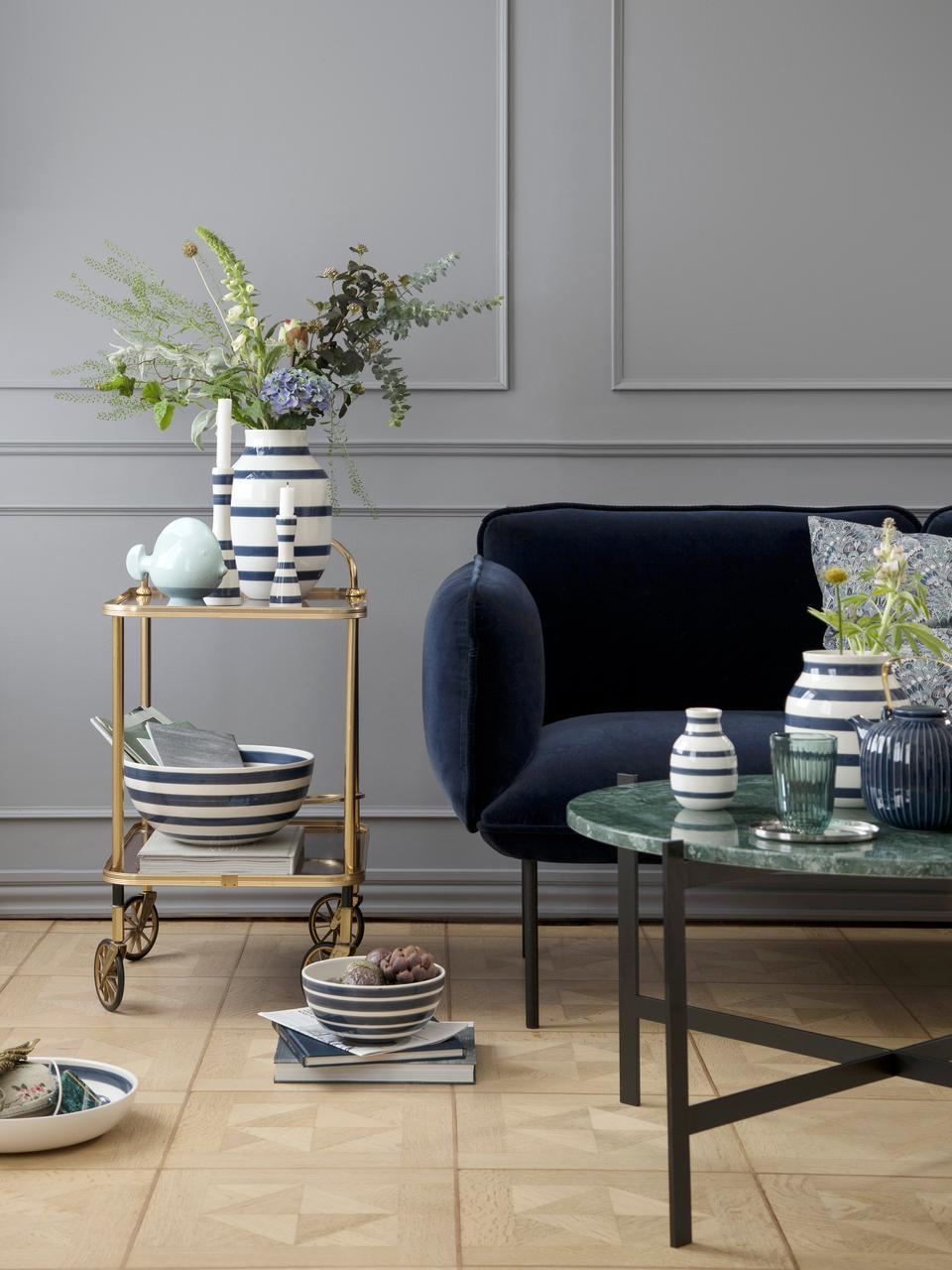 Vaso fatto a mano Omaggio, Ceramica, Bianco, blu acciaio, Ø 8 x Alt. 13 cm