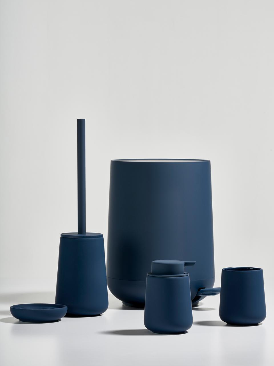 Porta spazzolini in porcellana Clean, Porcellana, Blu, Ø 8 x Alt. 10 cm