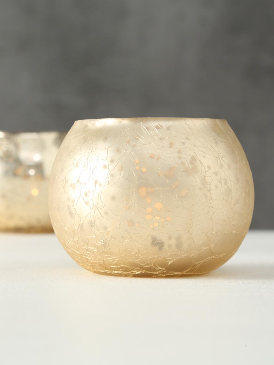Windlichtenset Grusha, 2-delig, Gelakt glas, Mat en glanzend champagnekleurig, Ø 7 x H 6 cm