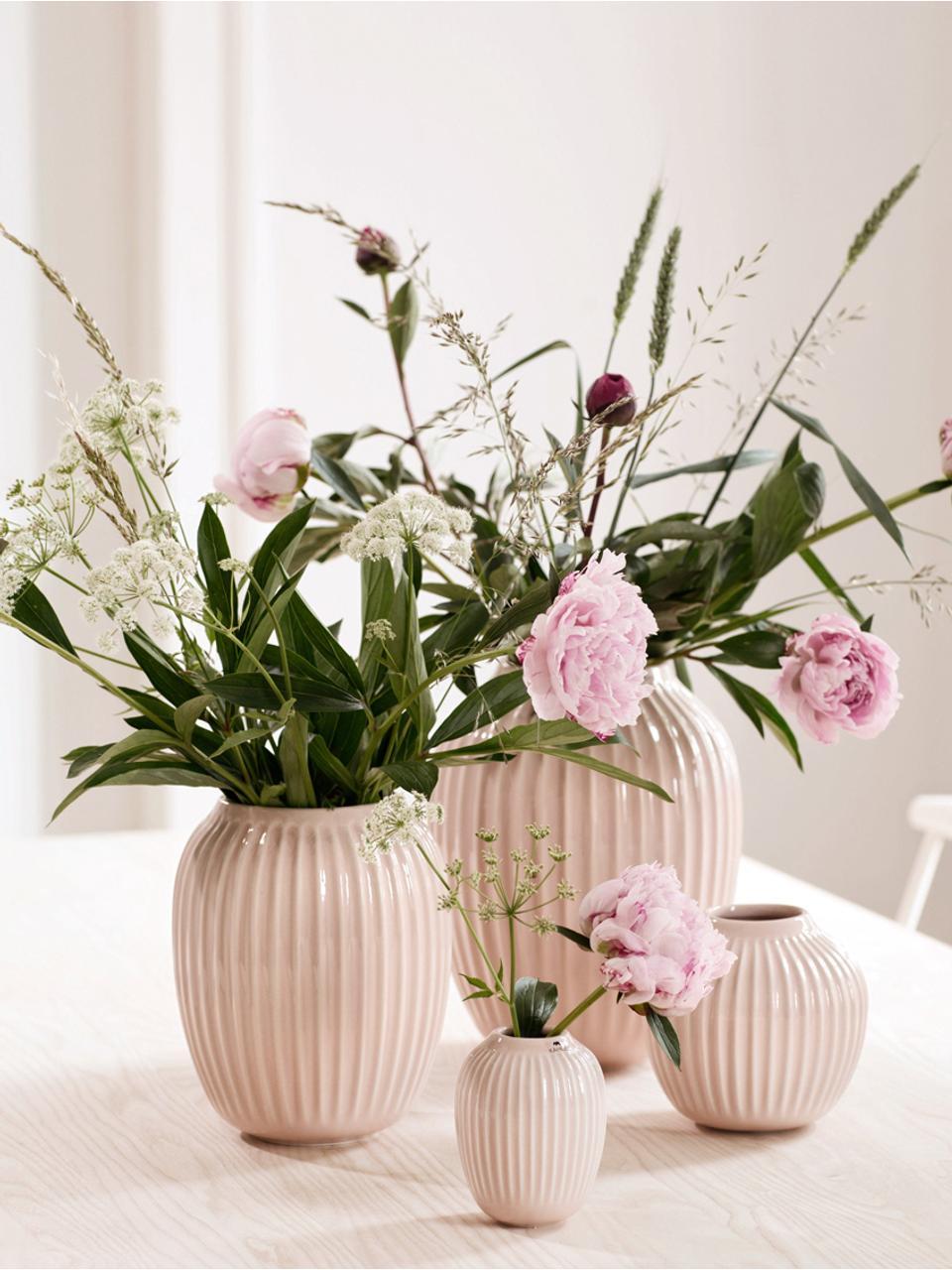 Vaso di design fatto a mano Hammershøi, Porcellana, Rosa, Ø 17 x Alt. 20 cm
