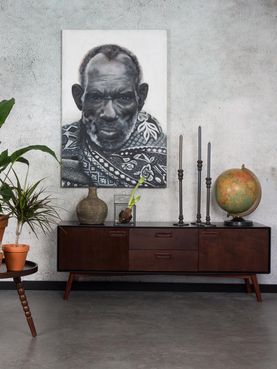 Retro Lowboard Juju mit Walnussfurnier und Schubladen, Füße: Eschenholz, massiv, gebei, Braun, Schwarz, 150 x 53 cm