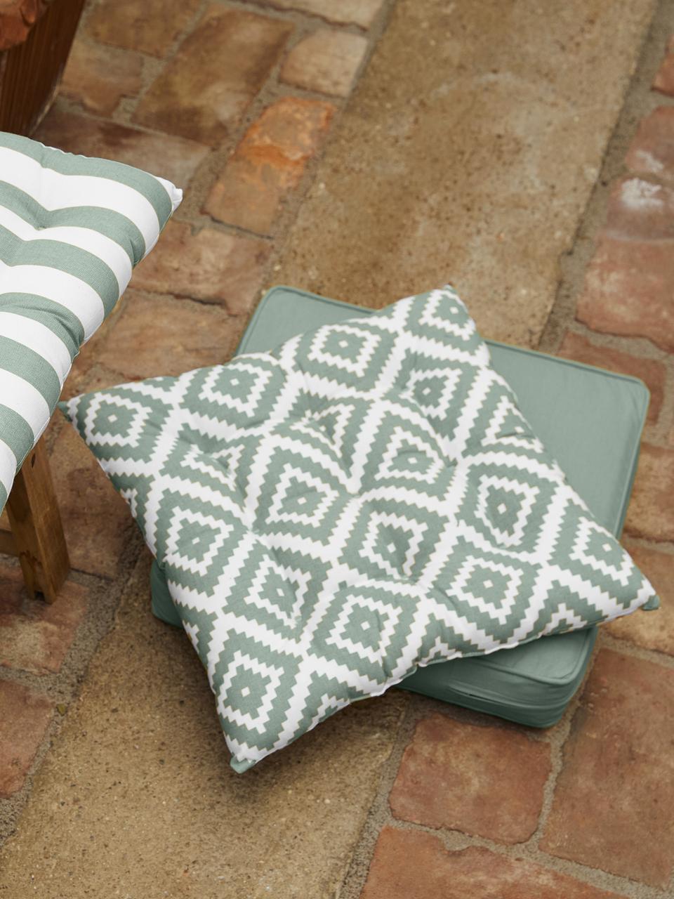 Cuscino sedia verde salvia/bianco Miami, Rivestimento: 100% cotone, Verde, Larg. 40 x Lung. 40 cm