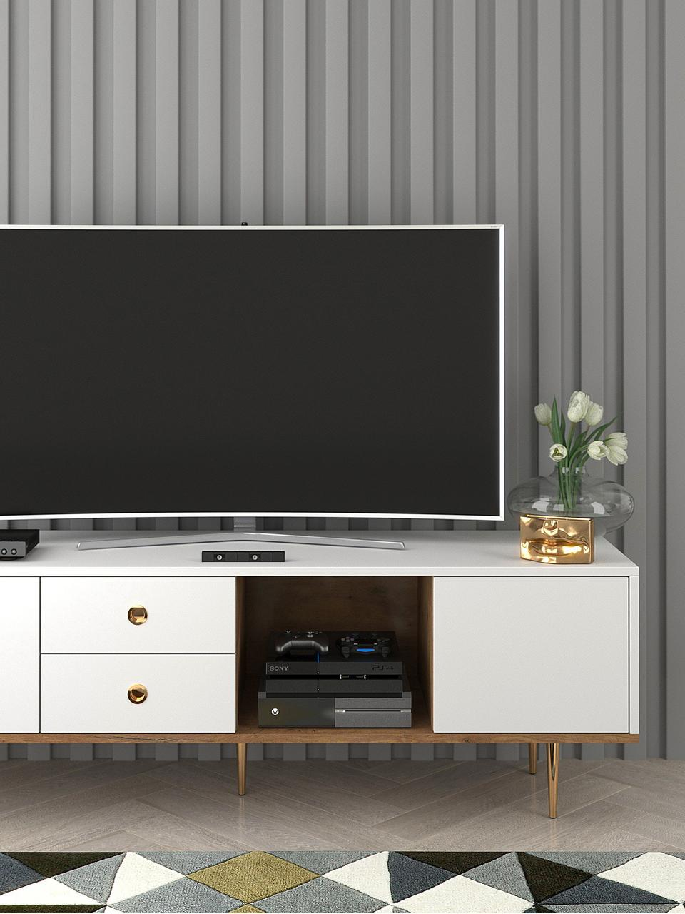 Tv-meubel Harmoni in wit, Frame: gelamineerd vezelplaat me, Wit, 160 x 53 cm