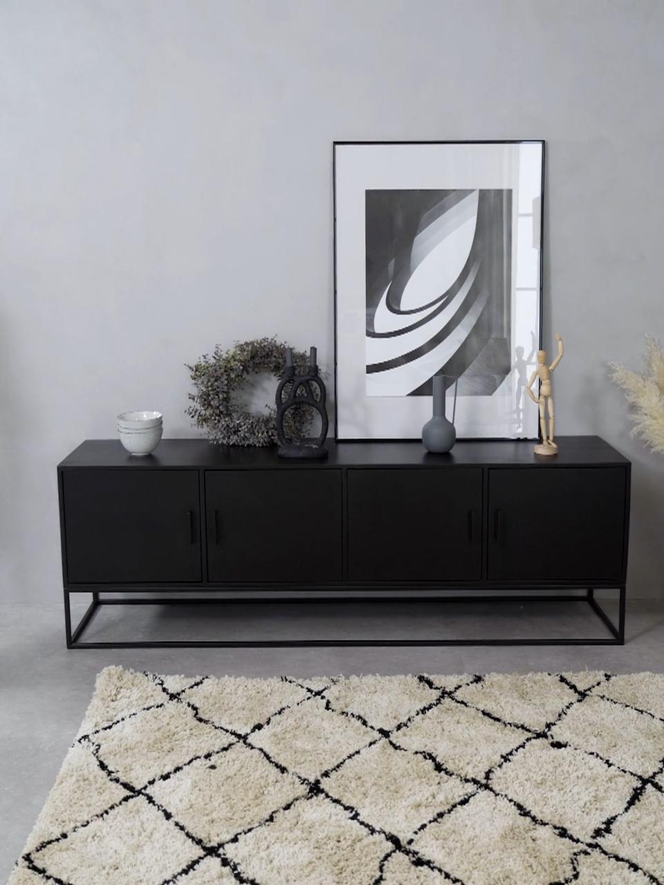 Credenza in legno di mango massiccio con ante Lyle, Struttura e maniglie: metallo verniciato a polv, Legno di mango, nero verniciato, Larg. 180 x Alt. 60 cm