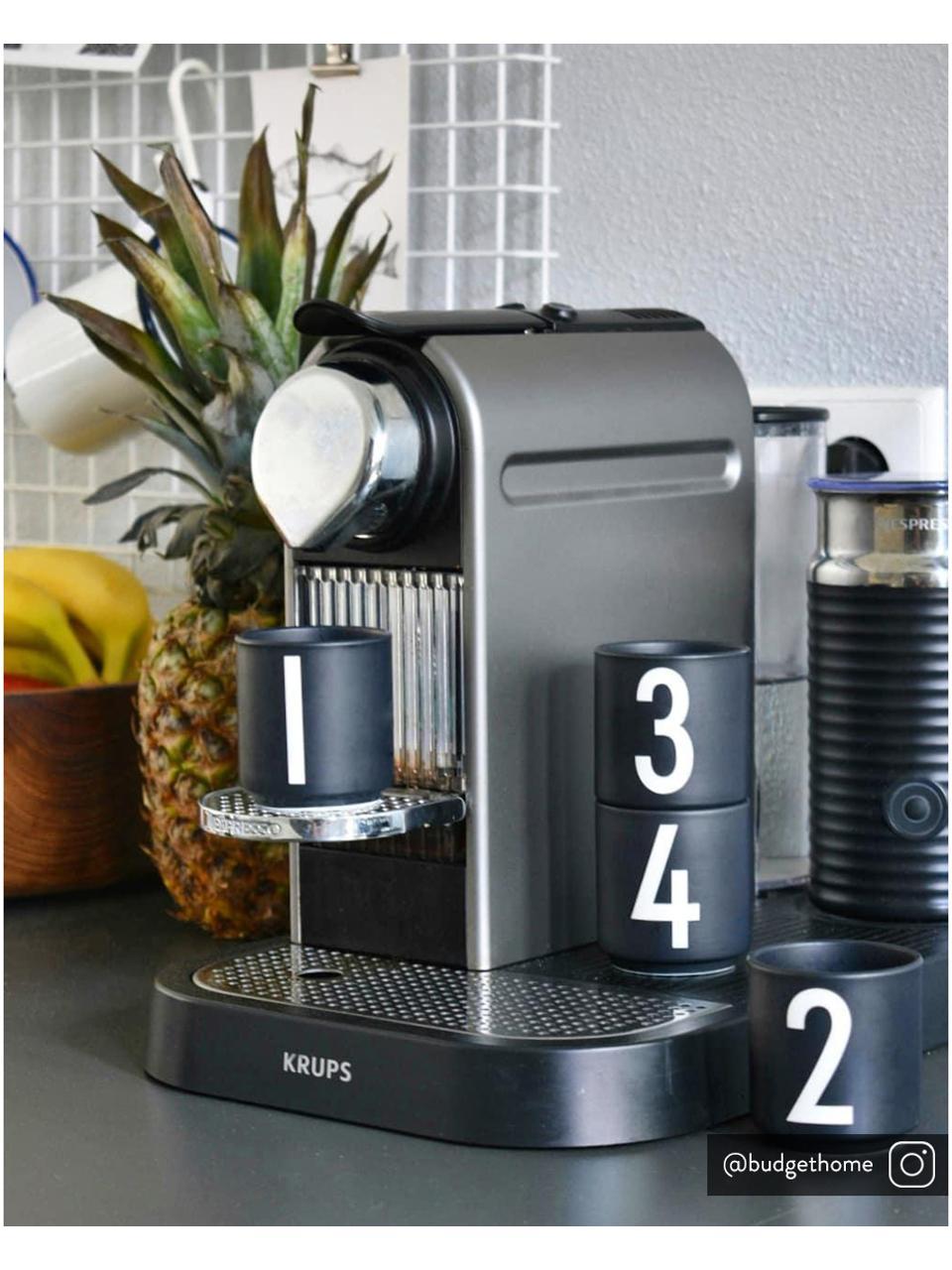 Design espressokopjesset 1234 met cijfers, 4-delig, Fine Bone China, porselein, Zwart, wit, Ø 5 x H 6 cm