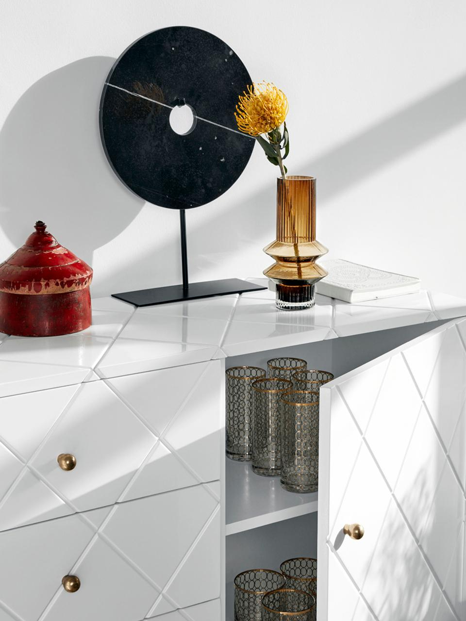 Transparante glazen vaas Rilla met een amberkleurige glans, Glas, Amberkleurig, Ø 10 x H 21 cm