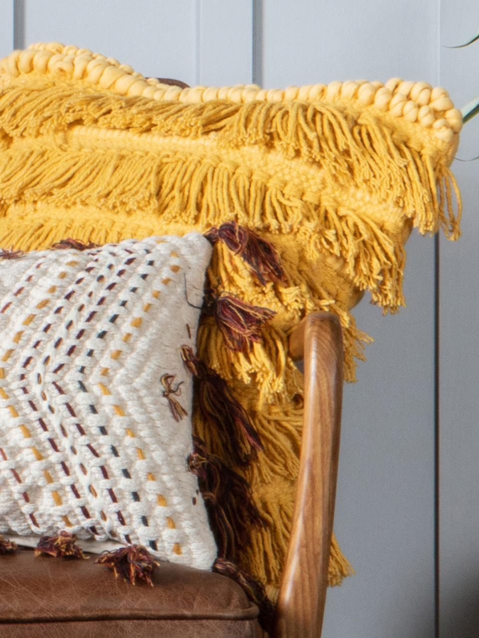 Kussen Tallara, met vulling, Bekleding: gerecycled katoen, Okergeel, 45 x 45 cm